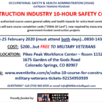 OSHA10 Course-Free for Veterans